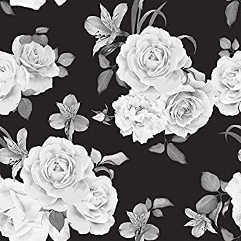 WallsByMe Peel and Stick Black and White Floral Fabric