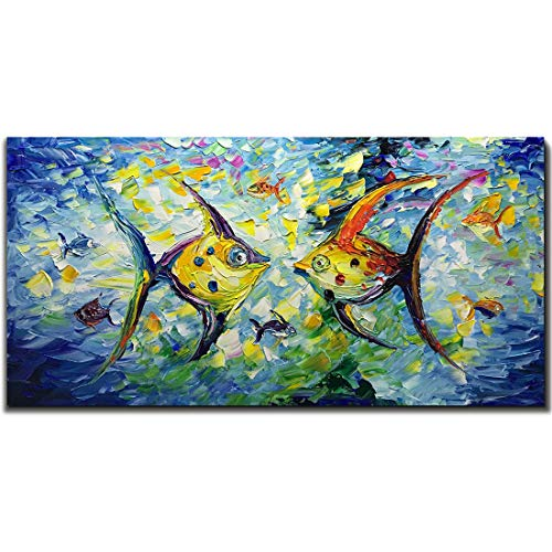 Abstract Acrylic Painting - Yotree 24x48 Inch Paintings,Kissing Fishes - Simple Modern Style Abstract Canvas Art 3D Hand-Painted Landscape Abstract Artwork Acrylic Knife Painting Ready to Hand