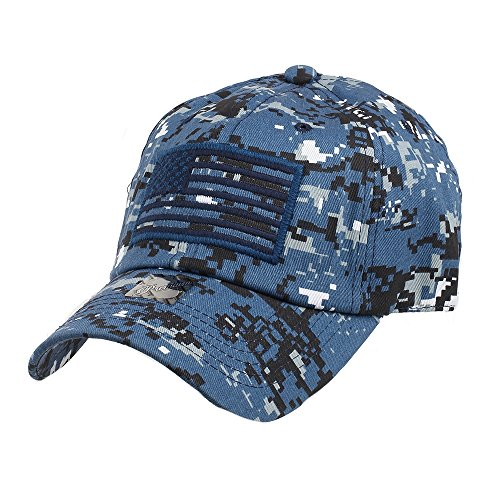 Pit Bull US Flag Patch Tactical Style Cotton Trucker Baseball Cap Hat Blue Camo (Digital Tactical Camo)