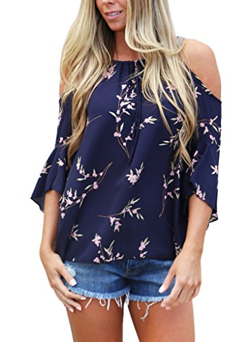 HOTAPEI-Womens-Floral-Print-Cut-Out-Shoulder-3-4-Sleeve-Chiffon-T-Shirt-Tops-Blouse
