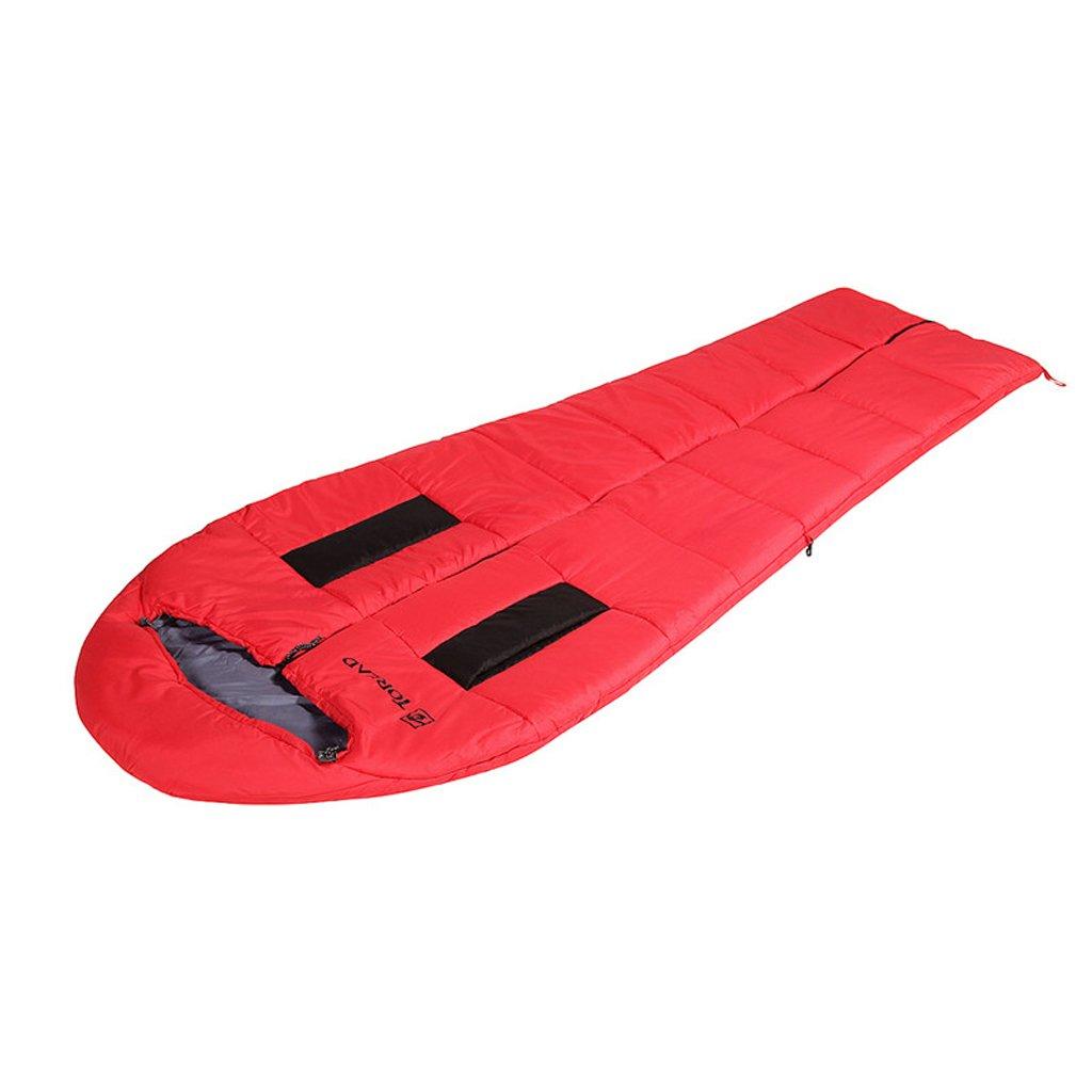 Fu Man Li Business 屋外の男性と女性の普遍的な大人の暖かい綿の寝袋 A+ B07318YHKD  赤
