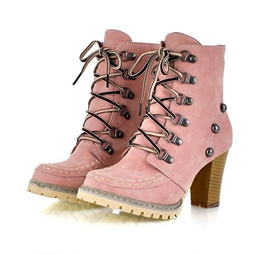Miles (Lace Up Pink Boots)