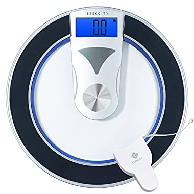 Etekcity Digital Weight Bathroom Scale with Body Tape Measure Curvy Sleek Design, 400 Pounds
