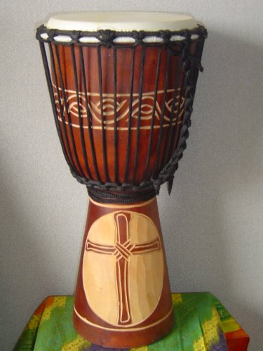 20'' X 10-11'' Deep Carved Djembe Bongo Drum CROSS with Free Cover, Model # 50M17 by madedrums