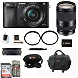 Sony Alpha A6000 Mirrorless Digital Camera with 16-50mm Lens (Black) + Sony 18-200mm F3.5-6.3 E-Mount Lens + 32GB SD Card + Soft Shell Gadget Bag + NPFW50 Replacement Battery + Deluxe Accessory Kit