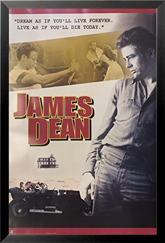 Buyartforless If Sp 3024 36X24 1 25 Black Framed James Dean Collage   Dream As If Youll Love Forever  Live As If Youll Die Today  36X24 Print Poster Celebrity Movie Star Icon Hollywood