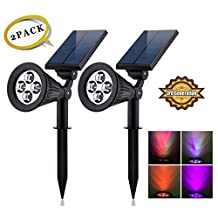 Solar LED Lights (2 Pack) [3rd Generation] Siensync(TM) 2-in-1 Solar Powered Outdoor Spotlight (Changing Color LEDs) for Landscape Lighting Waterproof Wall Light Bulb Driveway Yard Lawn Pathway Garden