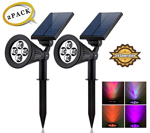 Solar LED Lights- (2 Pack) [3rd Generation] Siensync 2-in-1 Solar Powered Outdoor Spotlight (Changing Color LEDs) for Landscape Lighting Waterproof Wall Light Bulb Driveway Yard Lawn Pathway Garden - Led Color Changing Panel