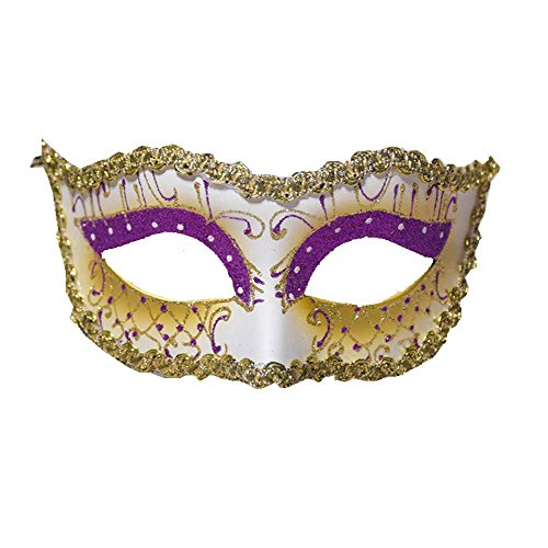 Exotic Party Feather Face Mask (Women's Venetian Style Mardi Gras Masquerade Costume Half Mask)