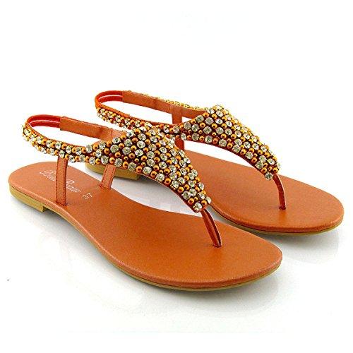 Sandalia de Dedo Plana con Diamantes y Perlas para Vacaciones Fiesta o Vestir Tallas ES 36-41 Naranja