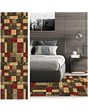 DeheartLongHallwayRunnerRug1.6' x 2', Non-Slip Washable and Stain Resistant Carpet for Kitchen, Hallway, Living Room, Bedroom, MultiColorContemporaryDistressed, Red / Yellow (133 Sizes)