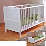 White Solid Wood Baby Cot Bed & Deluxe Foam Mattress Converts into a Junior Bed 3 Position water repellent mattress liner