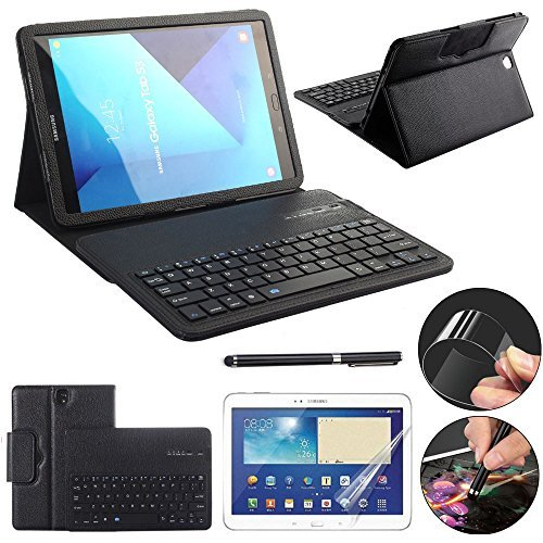 Galaxy Tab S3 9.7 Keyboard Case with Screen Protector & Stylus, REAL-EAGLE Slim Separable Fit PU Leather Case Cover Bluetooth Keyboard for Samsung Galaxy Tab S3 9.7 Inch SM-T820 T825, Black