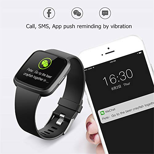 H4 Fitness Health 2in1 Smart Watch for Men Women Smartwatch with All-Day Heart Rate / Blood Pressure / Sleep Monitor IP67 Waterproof Sports Activitity Tracker Bluetooth Watch(BLK)