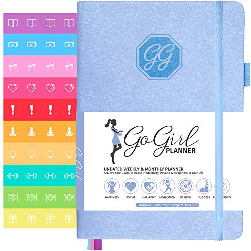 GoGirl Planner and Organizer for Women - Pocket Size Weekly Planner, Goals Journal & Agenda to Improve Time Management, Productivity & Live Happier. Undated - Start Anytime, Lasts 1 Year - Light Blue