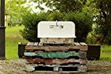 Mercury Glass Inspired 30'' High Back Cast Iron Silver Gilded Original Porcelain Kitchen Wall Farm Sink Package