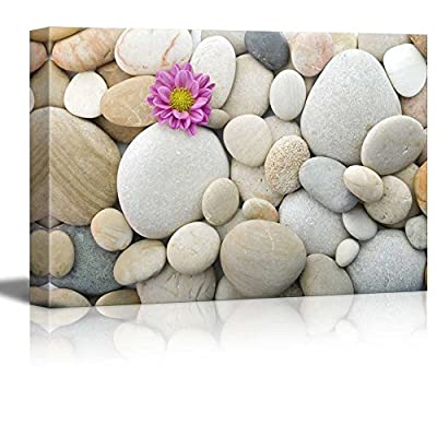 Canvas Prints Wall Art - Zen Pebble Stones with Pink Carnation | Modern Wall Decor/Home Decoration Stretched Gallery Canvas Wrap Giclee Print. Ready to Hang - 32