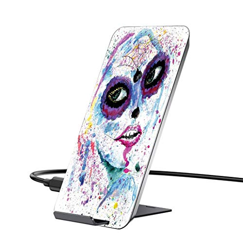 10W Wireless Charger and QC 3.0 Adapter kit,Girls,Grunge Halloween Lady with Sugar Skull Make Up Creepy Dead Face Gothic Woman Artsy,Blue Purplewith iPhone, Samsung and Supports All Qi Phones. ()