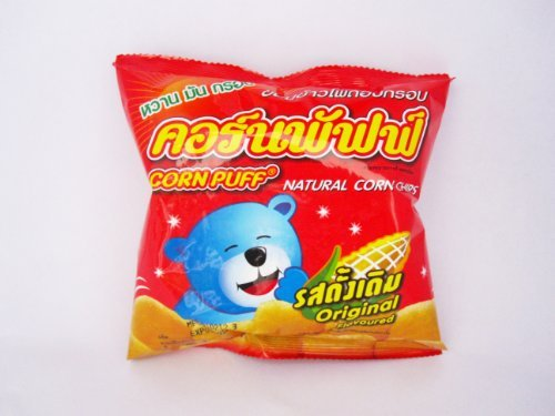 Thai Snack Corn Puff Natural Corn Chips 19 G. (12 Packs)