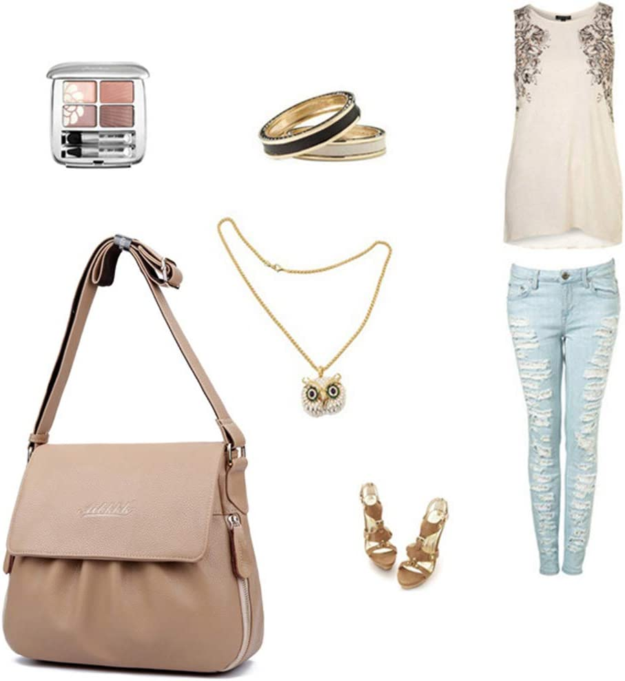 GYPING Messenger Bag delle Donne Telefono di Modo Purse Satchel Pelle Bovina Borsa a Tracolla Work Shopping Viaggi Crossbody,Khaki Khaki