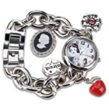 Disney Snow White Mop Crystal Red Apple Charm Bracelet Quartz Watch PN2003