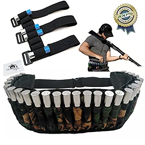 Hunting Sports Shotgun Shell Holder Belt Waist Shoulder Bag 27 Round Waterproof Adjustable Magazine Belt Pouches plus Shooters Forearm Sleeve Ammunition Storage for Ourdoor Hunting by Home Papa