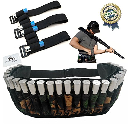 [Bullet Waist Bag and Shotgun Shell Holder (Pack of 2) 27 Round Waterproof Adjustable Magazine Belt Pouches plus Shooters Forearm Sleeve Ammunition Storage for Ourdoor Hunting by Home] (Project M 35 New Costumes)