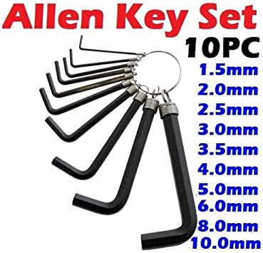 10 piece Hex Hexagon Allen Metric Imperial Key Set Wrench with Keyring DIY Tools