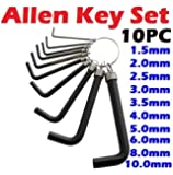 10PC Metric Hex Hexagon Allen Alan Key Wrench Set 1.5mm - 10mm With Keyring New