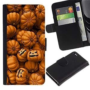 For Apple iPhone 4 / iPhone 4S,S-type® Orange Pumpkin Evil Holiday - Dibujo PU billetera de cuero Funda Case Caso de la piel de la bolsa protectora
