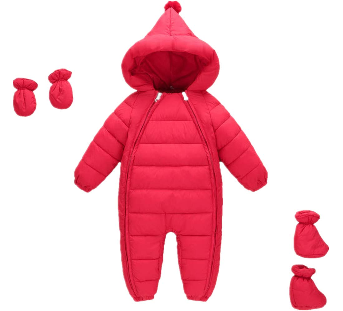 3 pcs Toddler Baby Crawling Clothes Girls Boys Romper Winter Jumpsuit Thicken Cotton Snowsuit One Piece with Gloves Foot Cover Red 5-12 Months by Ohrwurm