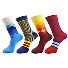 FULIER 4 Pack Mens Fashion Colorful Design Comfort Cotton Casual Crew Dress Socks