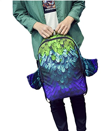 Feather Adult Back Wings (BOwith Girls Boys Canvas Backpack Feather Pattern with Wings Bookbag Laptop School Backpack Big Backpacking (Style)