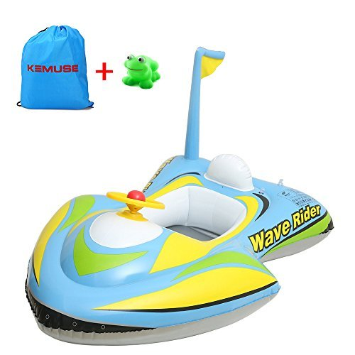 Kemuse Baby Toddler Inflatable Motorboat Kids Swimming Float, Children Swim Ring with Toys Gift & Storage Bag