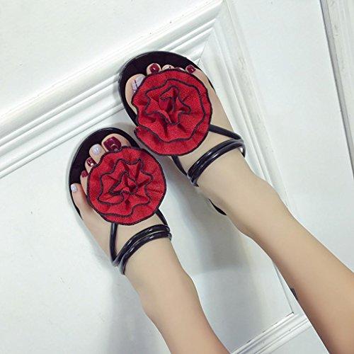 Red Slipper Sandals Flowers hunpta Beach Flops Flip Shoes Indoor Outdoor Summer Women T4PtBqR