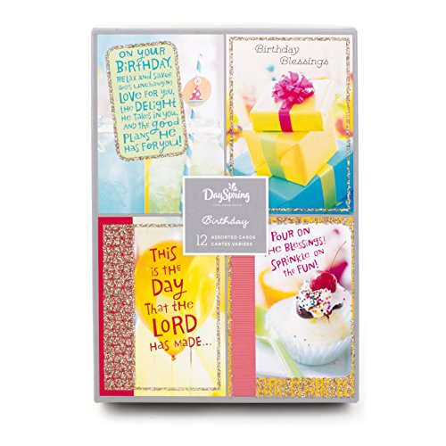 Birthday Boxed Cards 12 Box - Assorted Religious Birthday Cards, Dayspring (Christian Blessings, 12 Cards and Envelopes)