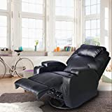Massage Recliner Chair, 360 Degree Swivel and Heated Recliner Bonded Leather Sofa Chair with 8 Vibration Motors,Black For Sale
