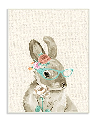 The Stupell Home Decor Collection Stupell Industries Woodland Bunny with Cat Eye Glasses Wall Plaque Art, 10 x 0.5 x 15, Proudly Made in USA -