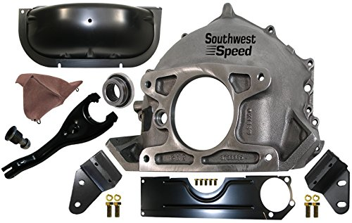 NEW 55-57 CHEVY 365 BELLHOUSING, INSPECTION & DUST COVERS, CLUTCH FORK & BOOT, BALL, THROWOUT BEARING, & REAR ENGINE MOUNTS, FITS SBC OR BBC WITH MANUAL TRANSMISSION, STAMPED #GM 3733365