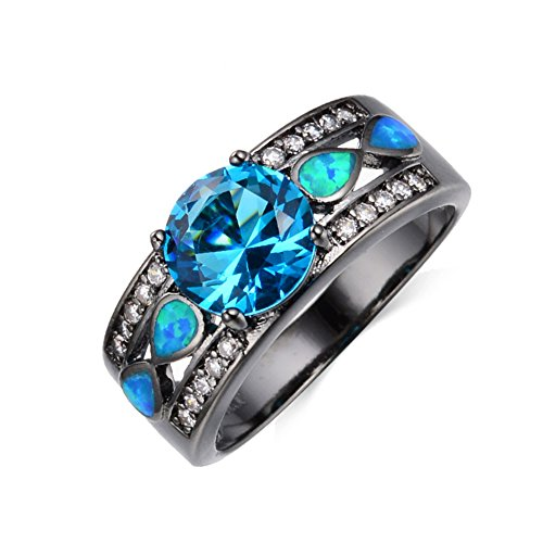 JunXin Brilliant Round Cut 8MM Aquamarine Blue Topaz Ring Blue Fire Opal for Women (Brilliant Black Fire Opal Ring)