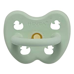 HEVEA Natural Rubber Pacifiers Cute Baby Colors All Food Grade and Plant Based, Completely bpa- and Plastic-Free, Soothing and Comfort (Mellow Mint, 0-3 Months Orthodontic Teat Shape)