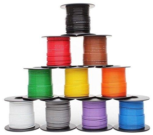 Violet/Black Striped, 18 GA AWG GXL Wire, 100