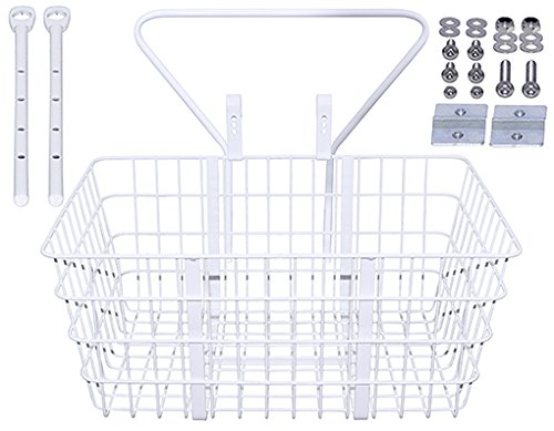 Steel Wire Basket With Adjustable Braces Fit 20'' to 29'' Bikes TL-907ss White. by Lowrider