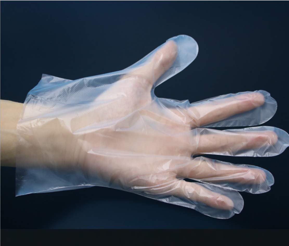 taglia unica Guanti usa e getta usa e getta in plastica 200 pezzi trasparenti per uso alimentare