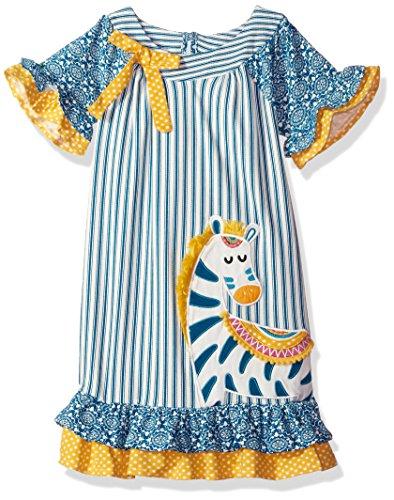 Counting Daisies Little Girls' Applique Dress, Zebra, 6X (Zebra Girls Dress)