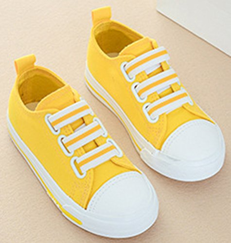 VECJUNIA Boy's Girl's Solid Candy Round Toe Comfortable Anti-Skid Fabric Elastic Strap Flats Sneakers (Yellow, 10.5 M US Little Kid) by VECJUNIA (Image #1)