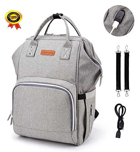 Diaper Bag Backpack Large Capacity Baby Bags Multi-Function Waterproof Travel Maternity Nappy Bags with USB Charging Port Stroller Straps Insulated Thermal Pockets Durable and Stylish Gray