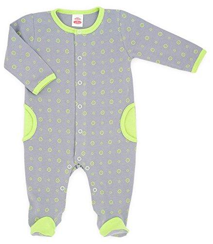 MAKOMA Baby Mädchen und Jungen Strampler mit Fuß Strampelanzug -02127 Lemon- (62)