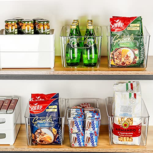 Set of 8 Refrigerator Organizer Bins (4 Large & 4 Small Plastic Storage Bins), Clear Kitchen Organization and Storage with Handles for Pantry, Cabinets, Shelves, Drawer, Freezer - Food Safe, BPA Free
