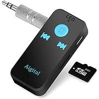 Receptor Bluetooth Coche Amplificador HiFi 4.1 Manos Libres Kits Estéreo per Audio Adaptador con Salida Estéreo DE 3,5 mm Aux Jack para Casa y Sistema de Audio Estéreo de Coche,Tarjeta del TF